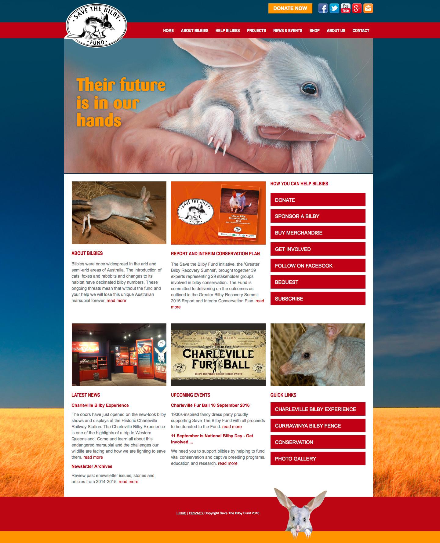 Save the Bilby Fund – website design Brisbane
